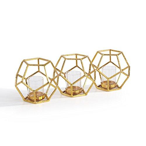 Fusion Candle Holder - Danya B Sparkling Gold Polyhedron Triple Candle Holder