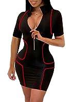 LightlyKiss Womens Sexy Mini Club Zipper Dresses Casual Short Sleeves Bodycon Clubwear