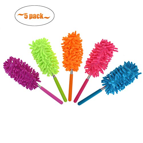 Phoenixes Retractable Long-Reach Washable Dusting Brush Microfiber Hand Duster with Telescoping Pole (Pack of 5)