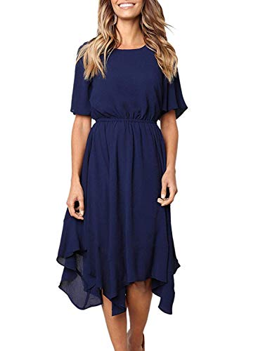 HOTAPEI Women's Casual Short Sleeve Empire Waist Irregular Hem Summer Spring Flowy Swing Chiffon Midi Dresses Knee Length Navy Blue Small
