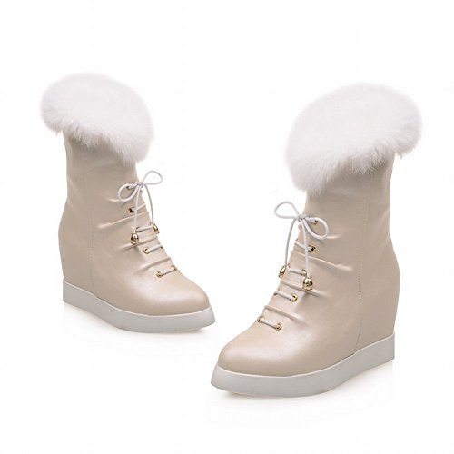 Wedge Mid Latasa Snow apricot Womens Boots Lace Short Heel Chic up Platform zwXY4qxXar