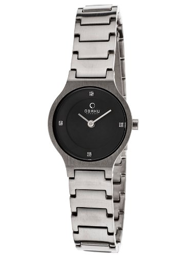V133STBST Watch Obaku Women's Titanium Titanium case, Titanium bracelet, Black dial, Quartz movement, Scratch resistant titan, Water resistant up to 3 ATM - 30 meters - 99 feet