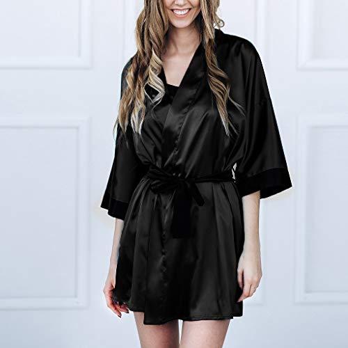 Peignoir Satin Bessky Black Lingerie De Noir Kimono Femmes Vêtements Nuit Pyjamas Dentelle Sexy Robe Soie qZzXq6