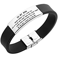 to My Son Never Forget That I Love You Boys Bracelet Jewelry Gift Idea from Dad and Mom (Black)