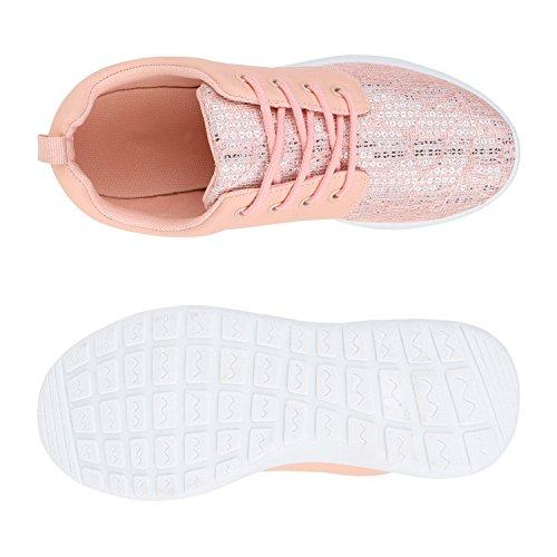 Damen Sportschuhe Übergrößen Trendfarben Runners Sneakers Laufschuhe Fitness Prints Flandell Rosa Glitzer
