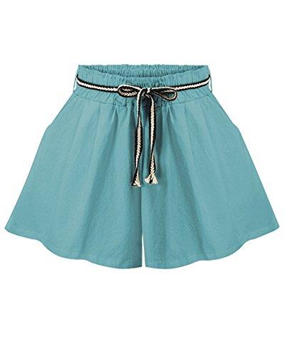 Larghi A Pantaloncini Forti Donne Pantaloni Elastica Alta Casual Taglie Sciolto Con Azzurro Vita qHHPZzE