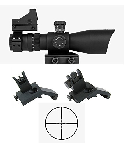 M1SURPLUS Tactical Optics Upgrade Kit w/REDCON 3-9x42 (Mil-Dot Illuminated Reticle) Scope + Compact Dot Sight + Flip-Up Backup Sights/Fits Weaver Picatinny Rails