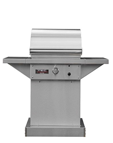 TEC Sterling Patio 1 FR Infrared Grill on Stainless Steel Pedestal Two Side Shelves Warming Rack (STPFR1LPPED-PFR1WR), Propane Gas ()