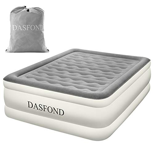 DASFOND Best Inflatable Air Mattress, Raised Blow up Airbed with Built-in Electric Pump and Storage Bag, Easy Setup, Height 22, Queen Size