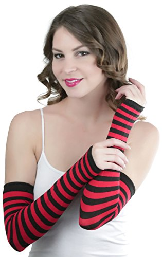 Nylon Striped Gloves (ToBeInStyle Women's Striped 100% Nylon Arm Length Warmers - Black With Red Stripes)