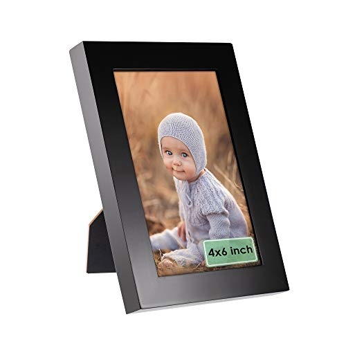 Moone 4x6 Picture Frame Made of 100% Reclaimed Wood for Wall Decor or Tabletop Vertical or Horizontal Display 6x4 Photo Frames Black