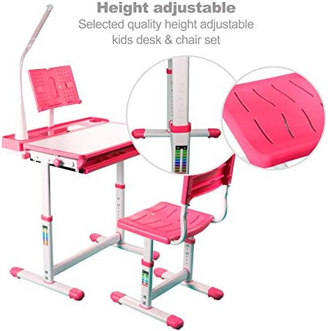 ZSZAUA Kids Functional Desk And Chair Set, Height Adjustable Children School Study Table With Tilt Desktop, Bookstand, LED Light, Metal Hook And Storage Drawer For Boys Girls Red