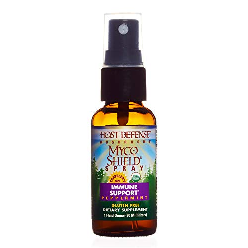 Host Defense - MycoShield Multi Mushroom Spray Peppermint, Daily Immune Support with Agarikon, Turkey Tails, and Reishi, Non-GMO, Vegan, Organic, 71 Servings (1 Ounce)