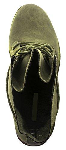 Boots Dk chunkyr Effetto Ayan Elara Trendy Green Donna Pelle Biker da Stivaletto qxYF8vw6I