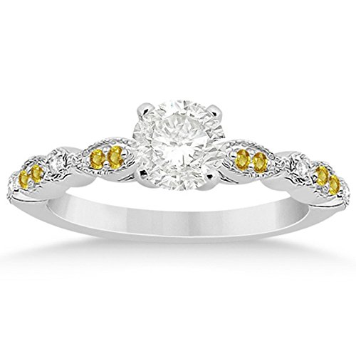 Semi-Eternity Marquise and Dot Yellow Sapphire and Diamond Engagement Ring Palladium (Palladium Yellow Ring)