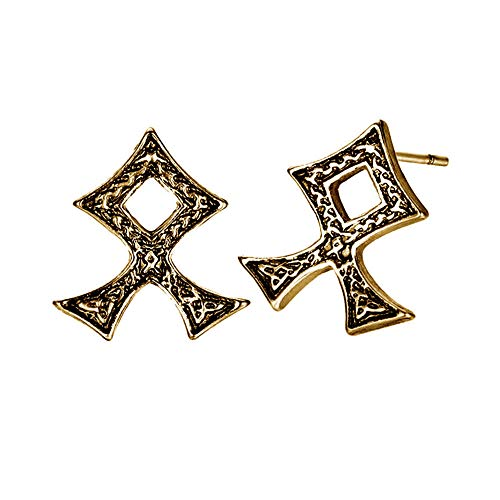 (Antiqued Golden Viking Runes Post Earrings [Othila/Othala] )