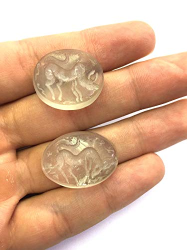 2 Pieces of Afghan Genuine Real Antique Ancient Old Middle Eastern Crystal Seal Intaglio Engraved Animal Horse & Bull Stamp Pendant Collectibles Beads