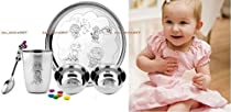 Bajaj Quality Creations 5 Pcs Baby Set/Stainless Steel-Plate-2 Bowls-1 Glass-1 Spoon-Perfect Baby Gift Set