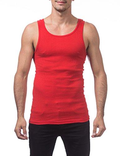 Pro Club Men's Premium Ringspun Cotton Ribbed A-Shirt (2-Pack), Large, Red