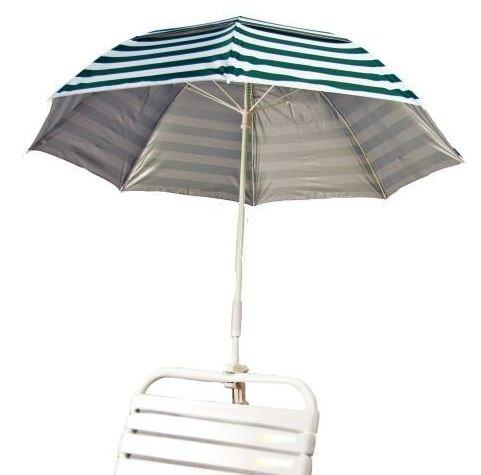 Forest Green & White Stripe Clamp On Solar Beach Umbrella