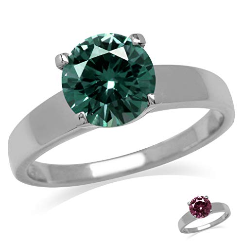 Silvershake 8mm Round Shape Simulated Color Change Alexandrite 925 Sterling Silver Solitaire Ring Size 5
