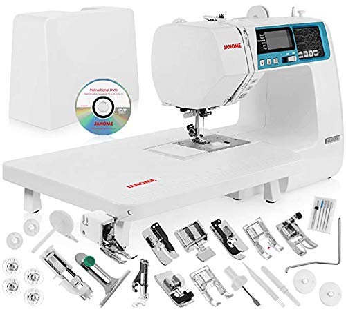 "Janome 4120QDC Computerized Sewing Machine w/Hard Case + Extension Table + Instructional DVD + 1/4"" Seam Foot w/Guide + Overedge Foot + Zig Zag Foot + Zipper Foot + Buttonhole Foot + Needles + More!"