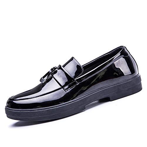 Noir 40 EU Meilleures ventes Chaussures Oxford Brevet d'affaires oxford chaussures en cuir microfibre britannique décontracté classique mocassins occasionnels gland à fond plat antidérapant chaussures holster à