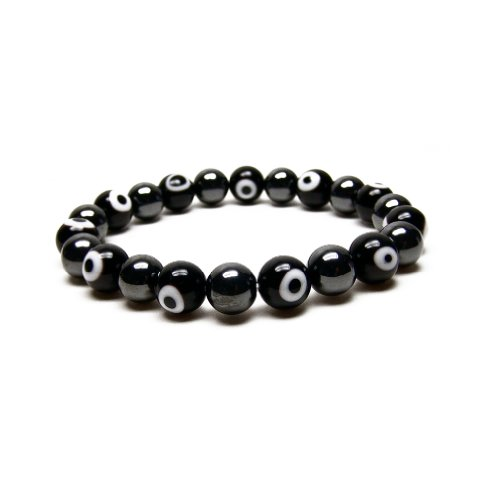 Eye Magnetic Hematite Bracelet - Accents Kingdom Men's Magnetic Hematite Evil Eye Beads Stretch Bracelet, 8.5