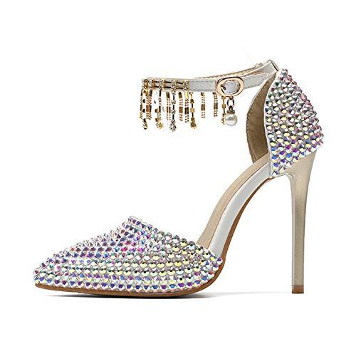 HRCxue Pumps High Heels Farbe Wort mit Strass Hochzeit Schuhe flachen Mund zeigte Quaste Strass Hochzeit Schuhe