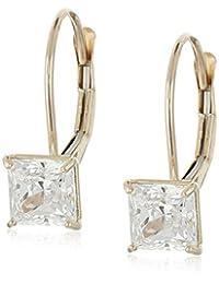 10k Gold and Princess-Cut Swarovski Zirconia (1 cttw) Dangle Earrings