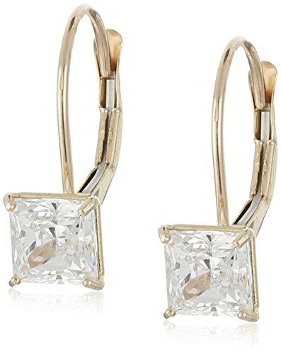 10K Yellow Gold Princess Cut Dangle Earrings Made with Swarovski Zirconia (1 cttw)