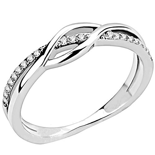 Jude Jewelers Stainless Steel Waved Knot Engagement Wedding Promise Anniversary Statement Ring (Silver Clear, 6)