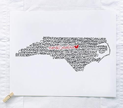 North Carolina Calligraphy Illustration Art Print // housewarming gift // hostess gift // bon voyage gift