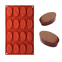 Ozera Silicone Oval Biscuit Chocolate Mold (2 Pack), Cake Baking Mold Muffin Cup, 16-Cavity, Red