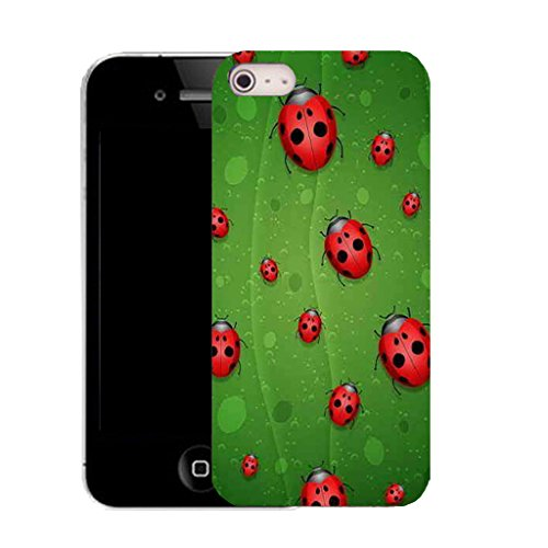 Mobile Case Mate IPhone 4s clip on Silicone Coque couverture case cover Pare-chocs + STYLET - red ladybird pattern (SILICON)