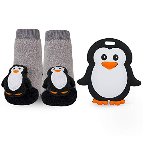 WADDLE Penguin Baby Teether and Rattle Socks Gift Set Silli Chews Silicone Teething Toy Oral Soother Newborn Black White Grey