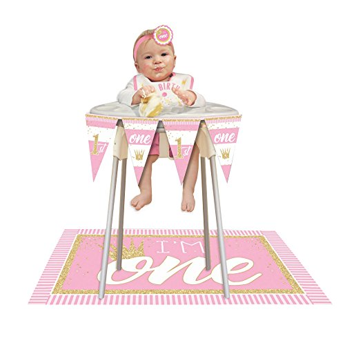Forum Novelties 1st Birthday Party Celebration Deluxe Decoration Kit for High Chairs Supplies-Banner, Mat and Baby Headband (1st Birthday Favor)