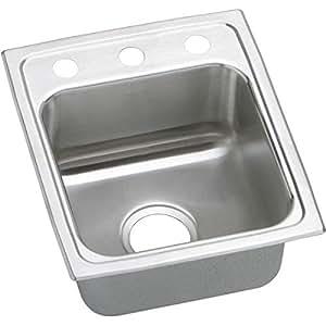 Elkay LRQ15173 Gourmet Lustertone 3-Hole 15-Inch x 17-1/2-Inch Single Basin Top-Mount Stainless Steel Kitchen Sink