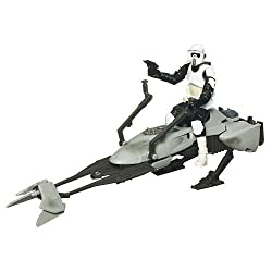 Star Wars 2009 Clone Wars Legacy Collection Exclusive Speeder Bike With Scout Trooper