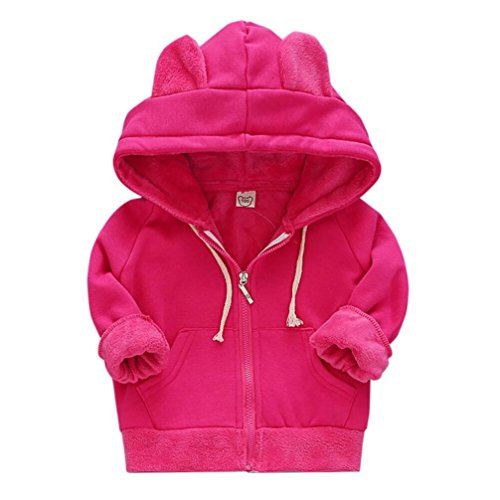 Fabal Fashion Girls Boys Long Sleeve Hoodie Warm Winter Coat Childrens Kids Jacket (4T-5T, Hot Pink) by Fabal
