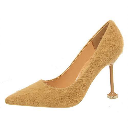 Fashion Mme À Talons Talons Hauts Hauts Plush Chaussures Kaki Style Joyiyuan nHxqWSW