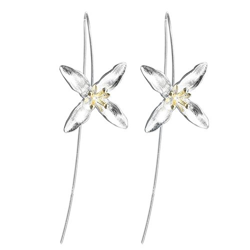 SAYLAVE Flower Golden Stamen Dangle Drop Threader Earrings Chain Earrings 925 Sterling Silver - Sterling Silver Threader Ring