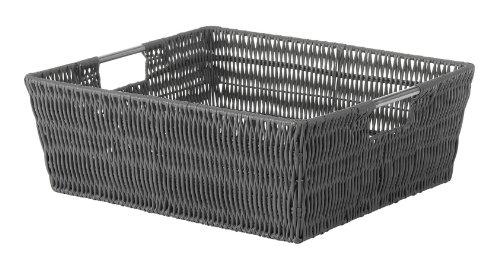 Whitmor Rattique Shelf Tote Grey - Whitmor Storage Tote