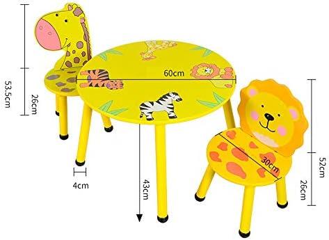 juego de mesa y silla para niños de Animales de Dibujos Animados, Mesa y sillas para jardín de Infantes, Mesa de Juegos/Mesa de Juegos para niños de Madera Maciza: Amazon.es: Hogar
