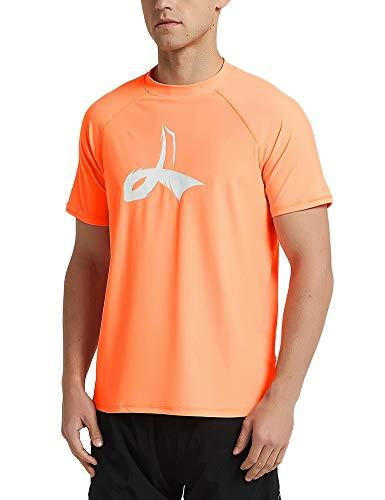 (LAFROI Men's Short Sleeve UPF 50+ Loose Fit Rash Guard (Orange, MD))