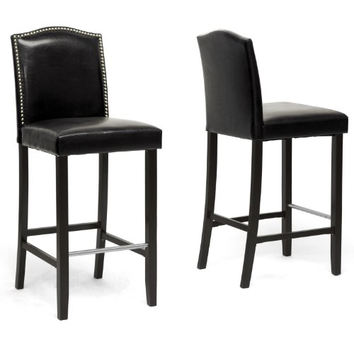 Wholesale Interiors Steel Bar Stool - Baxton Studio Libra Modern Bar Stool with Nail Head Trim, Black, Set of 2