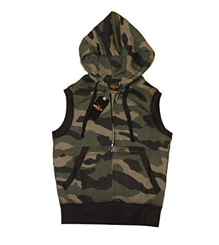 ROCK-IT Apparel® Zipped Hoodie ärmellos für Herren Sleeveless Fitness Kapuzenpullover Männer Sweater Trainingsweste Sweatshirt Tank Top S-4XL Farben Schwarz Camouflage Navy Grau