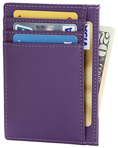 - Womens Slim Credit Card Holder Thin RFID Blocking Wallet Small Minimalist Leather Front Pocket Wallet for Men or Women - Purple
