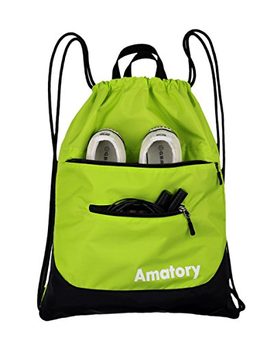 Drawstring Backpack Sports Gym String Bag Cinch Sack Gymsack Sackpack Waterproof (Green) by Amatory