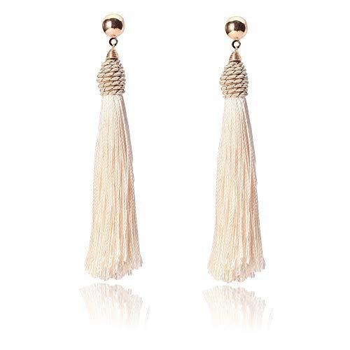 Jiami Long White Tassel Beads Earrings Drop Fringe Earrings Dangle Light Weight